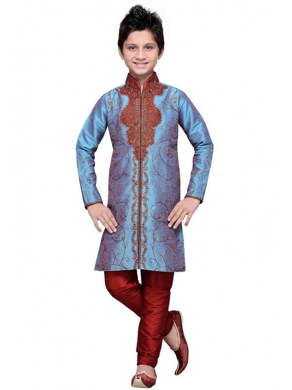 Blue Color Boy's Designer Kurta Pajama.