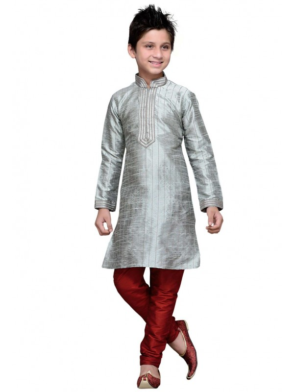 Exquisite Silver Color Cotton Fabric Boy's Kurta Pajama.