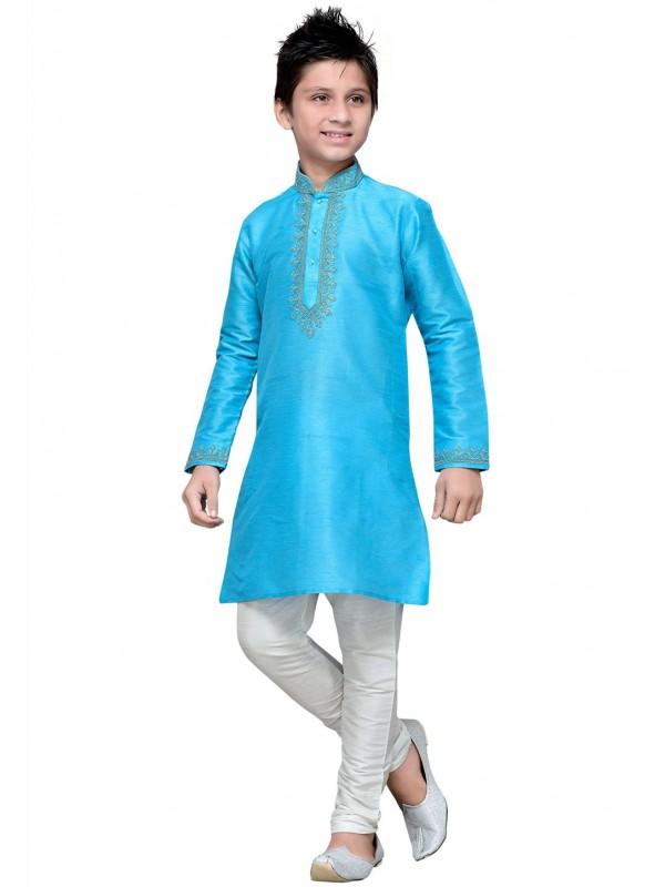 Sky Blue Color Boy's Readymade Kurta Pajama.
