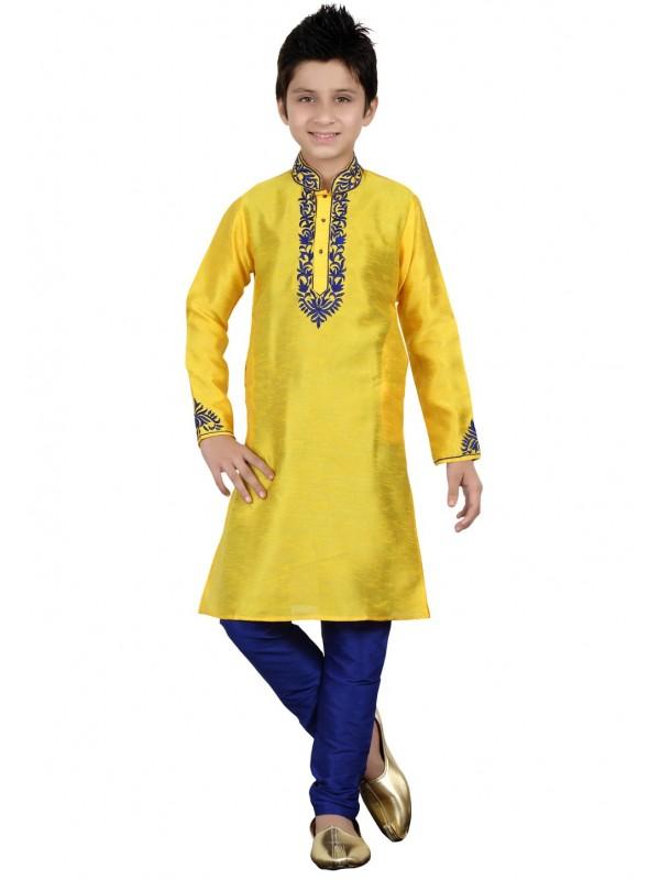 Yellow Color Boy's Indian Kurta Pajama.