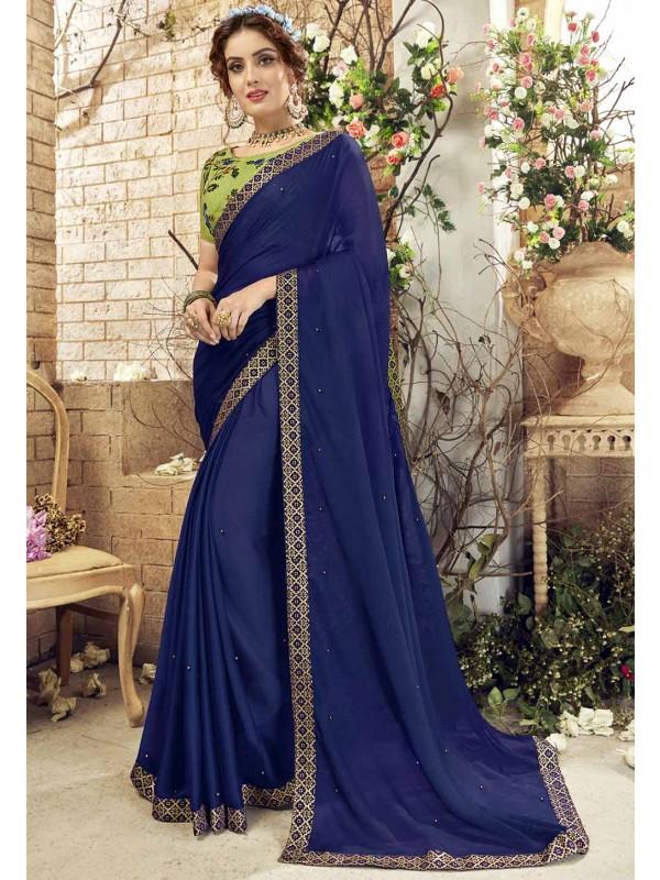 Blue Color Party Wear Saree.