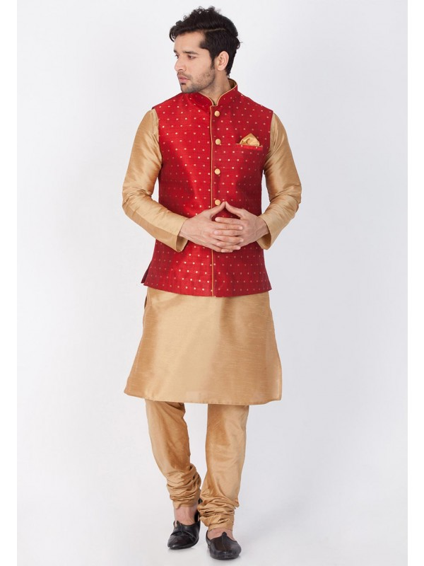 Golden,Red Color Party Wear Latest Kurta Pajama with Nehru Jacket