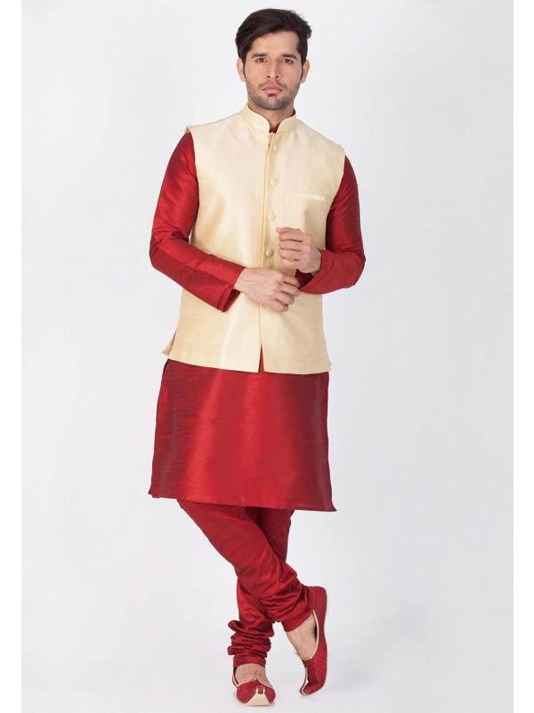 Maroon,Golden Color Latest Kurta Pajama with Nehru Jacket