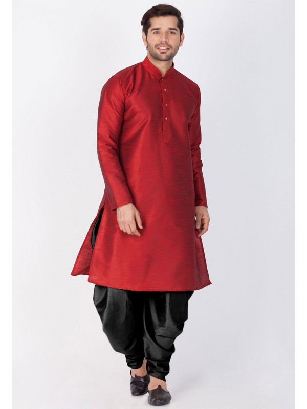Readymade: Buy Dhoti Kurta Online for Men in Maroon Color