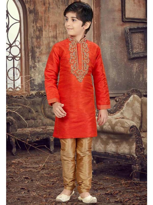 Orange Color Kurta Pajama.