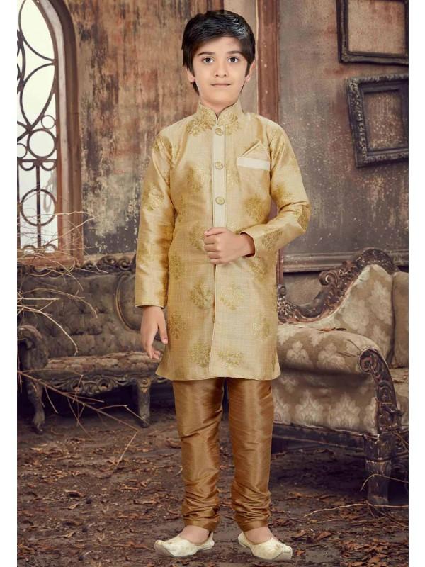 Golden Color Boy's Designer Kurta Pajama.