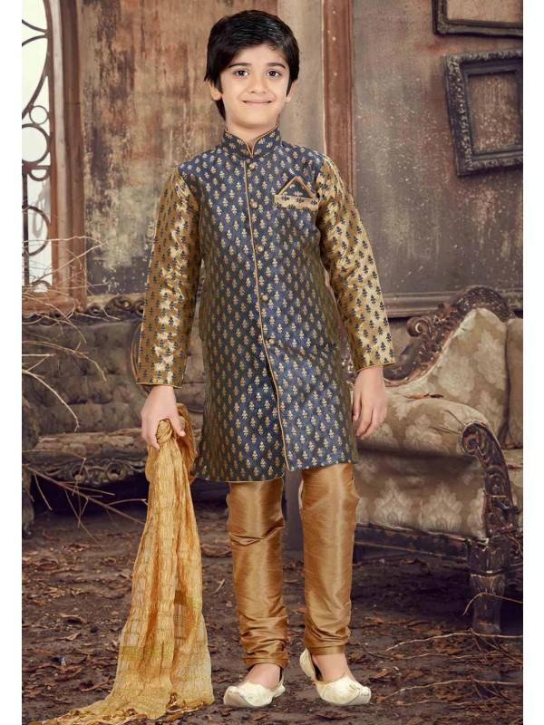Blue,Golden Color Boy's Designer Kurta Pajama.