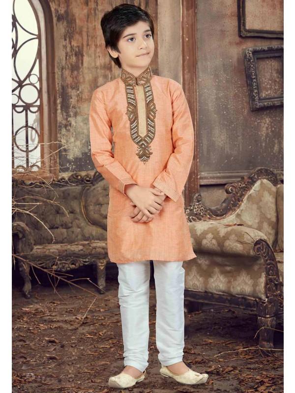 Peach Color Boy's Readymade Kurta Pajama.