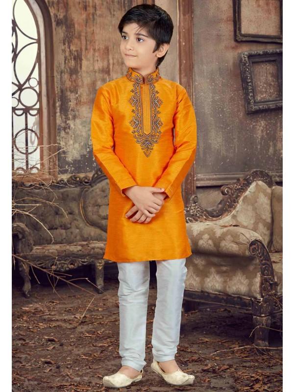 Yellow Color Boy's Designer Kurta Pajama.