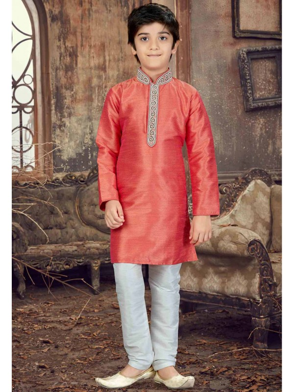 Peach Color Boy's Readyamde Kurta Pajama.