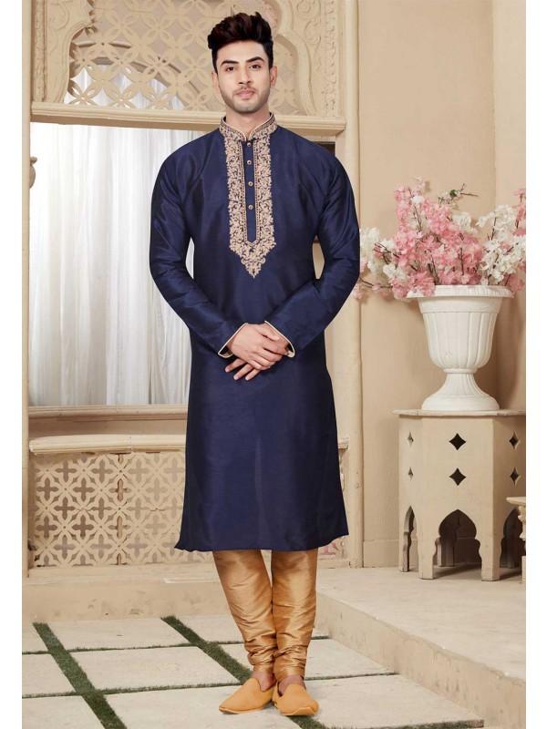 Buy Blue Color Designer Kurta Pajama Mens