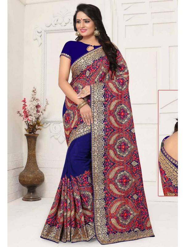 Blue Colour Indian Designer Saree.
