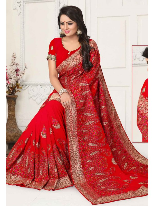 Red Colour Indian Designer Sari.