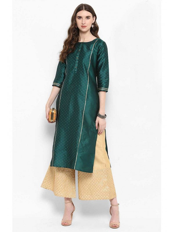 Green Colour Silk Readymade Kurti.
