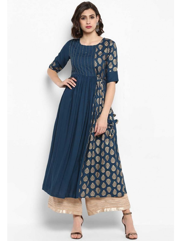 Blue Colour Anarkali Kurti.