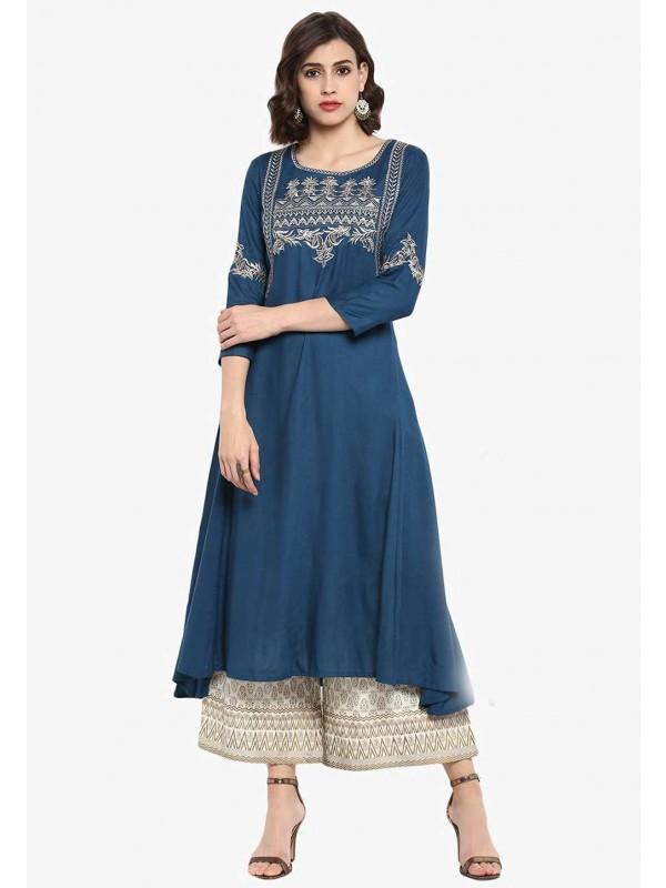Blue Colour Party Wear Kurti.