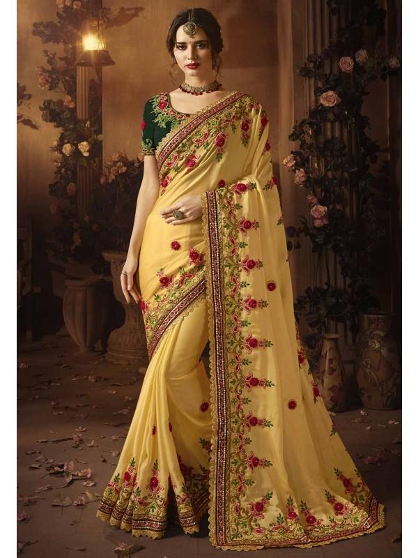 Yellow Colour Indian Designer sarees online shopping