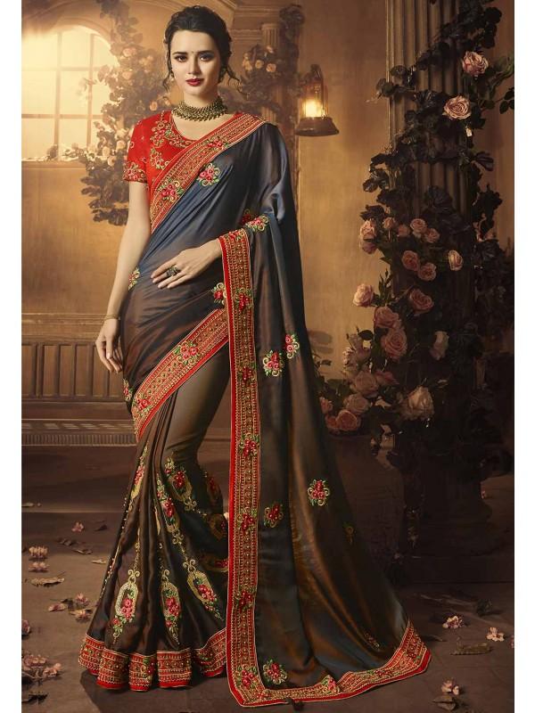 Silk Saree: Brown,Grey Colour Party Wear Designer sarees online shopping