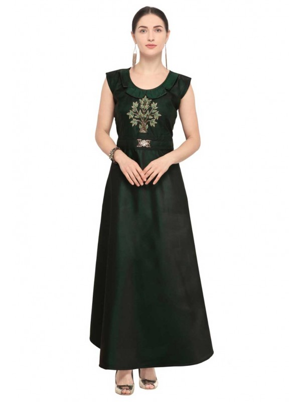 Green Colour Long Heavy embroidered kurtis online