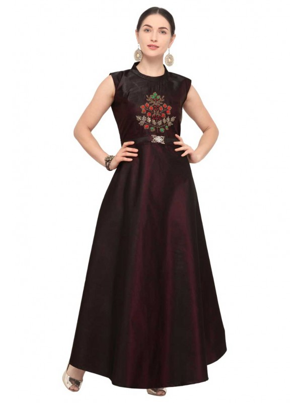 Wine Colour Readymade Heavy embroidered kurtis online