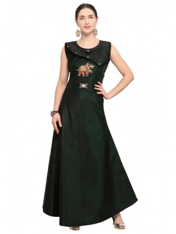 Green colour embroidery Indian kurti tops online