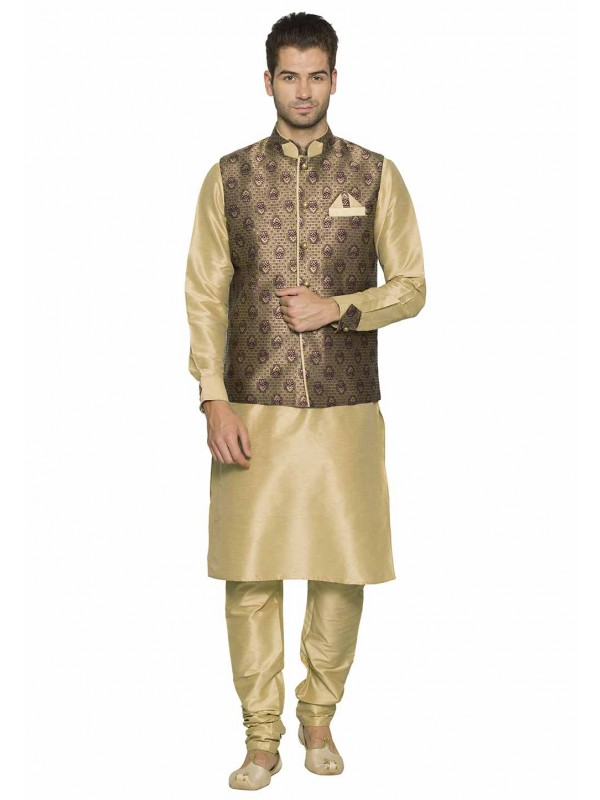 Brown,Beige Colour Party Wear Kurta Pajama.