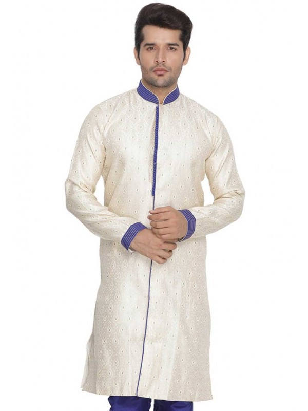 Cream Colour Cotton Silk Indowestern.