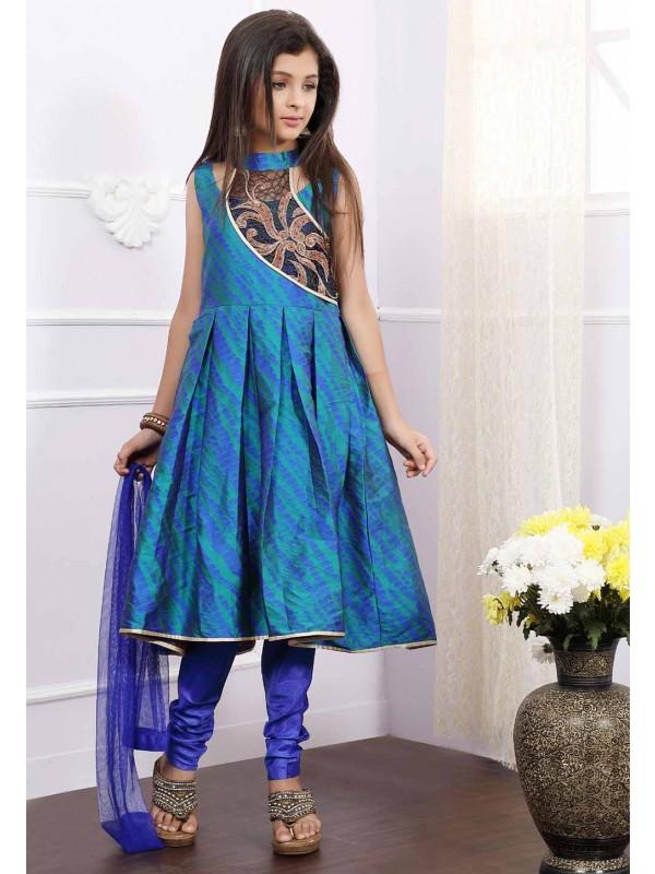 Blue Colour Girl's Salwar Kameez.
