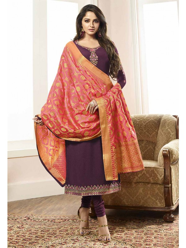 Purple Colour Designer Salwar Suit.