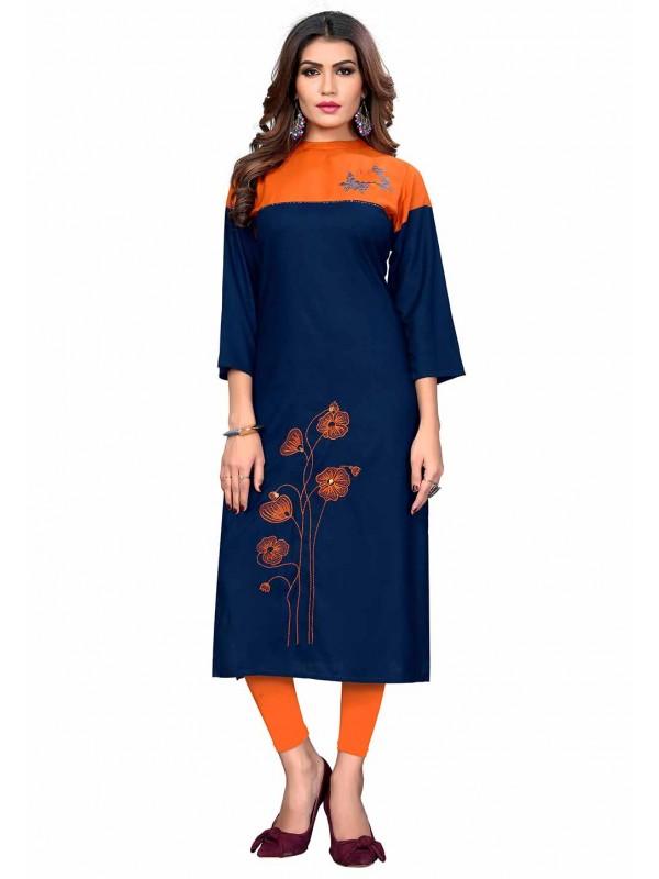 Blue,Orange Colour Designer Kurti.