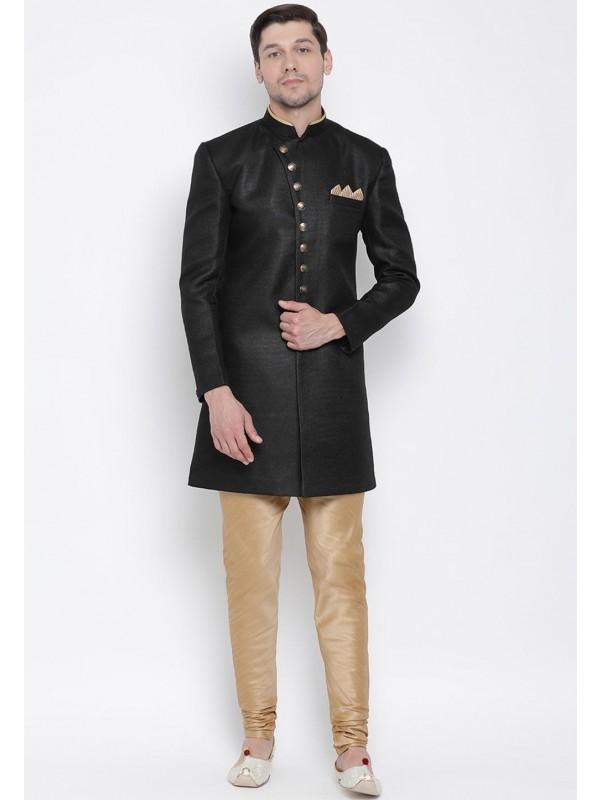 Black Colour Indowestern Style Kurta Pajama.