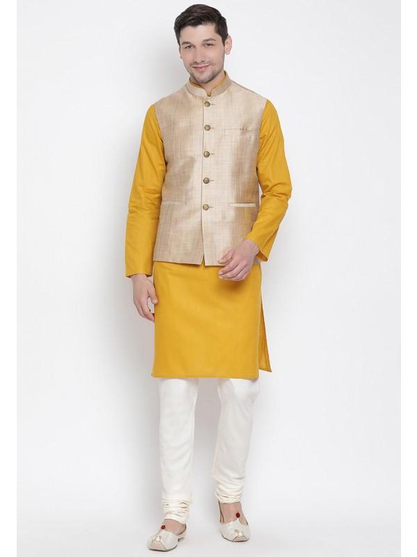 Yellow,Beige Traditional Kurta Pajama.