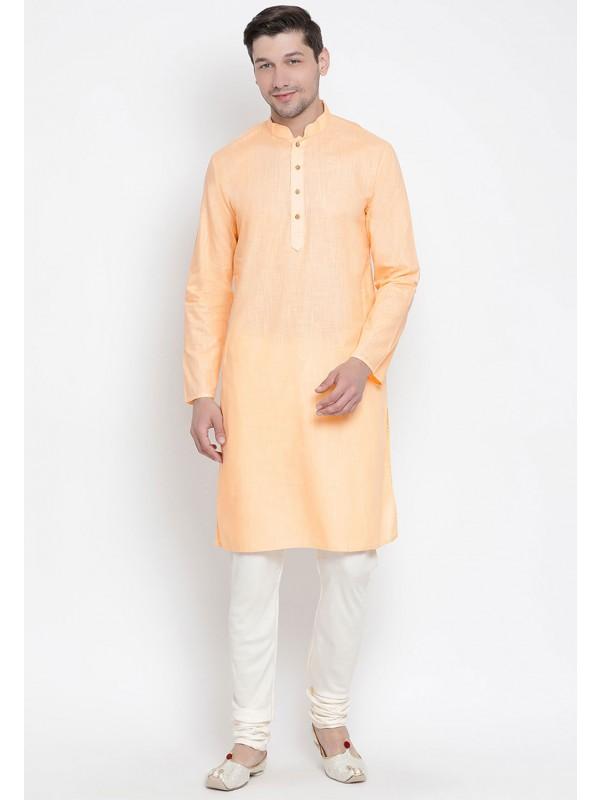 Peach Color Cotton Readymade Kurta Pyjama.