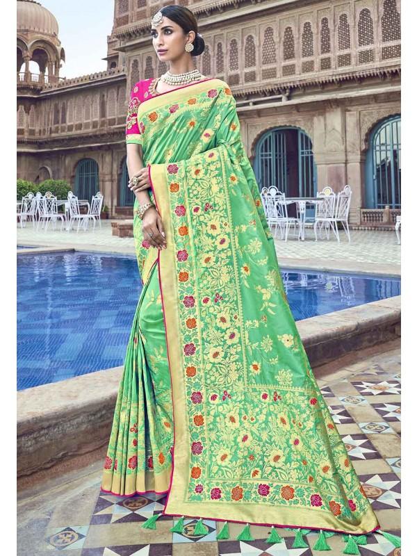 Green Colour Weaving Saree.