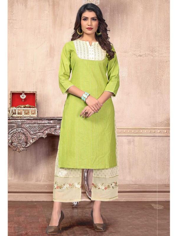 Green Colour Embroidery Kurti.