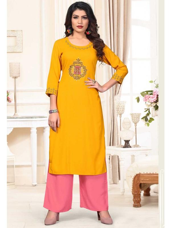 Yellow Colour Designer Kurti.