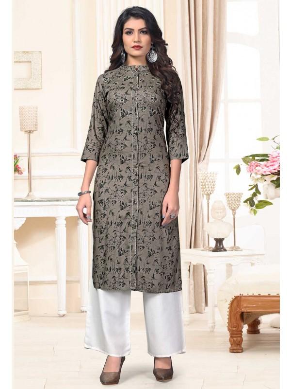 Grey Colour Printed Designer Kurti.