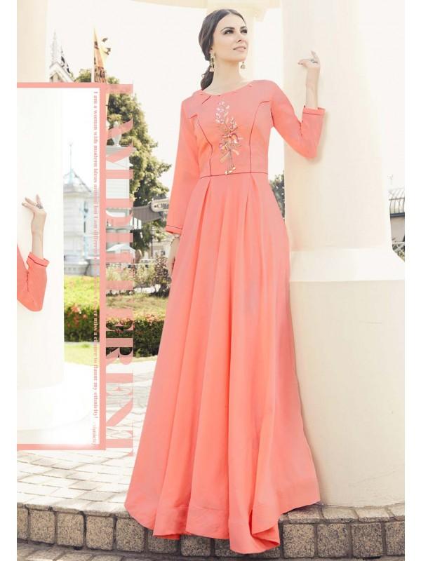 Peach Colour Readymade Kurti.