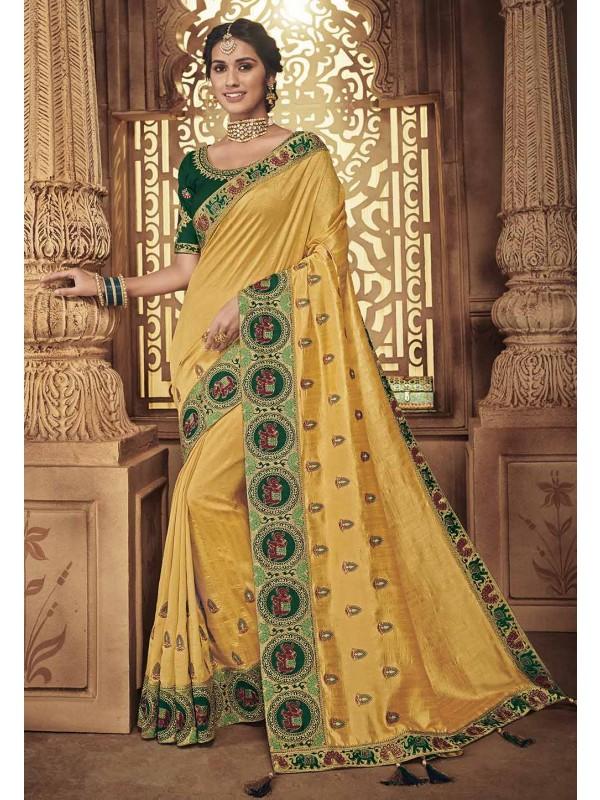 Yellow Colour Indian Traditional Sari.