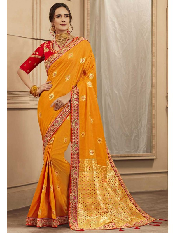 Yellow Colour Banarasi Silk Designer Sari.