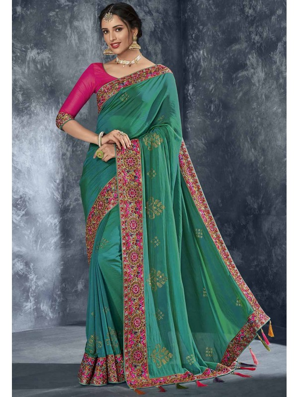 Green Colour Women Saree.
