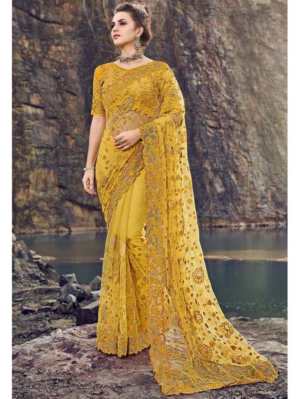 Indian Wedding Saree Yellow Colour.