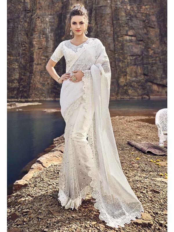 Fabulous Designer Saree White Colour.