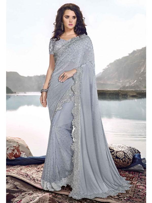 Grey Colour Indian Designer Sari.