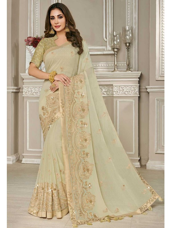 Beige Colour Georgette Saree.
