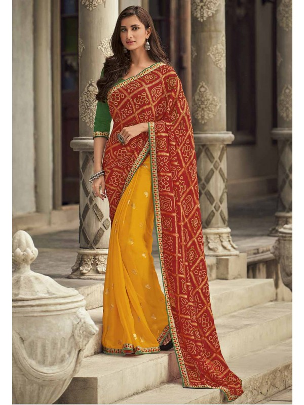 Red,Yellow Colour Bandhej Saree.