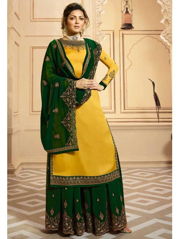 Party Wear Salwar Kameez Yellow Colour.