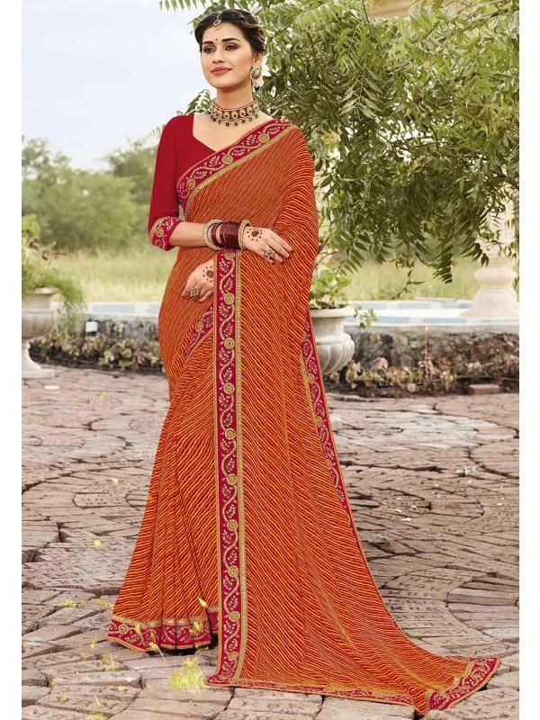 Orange Colour Traditional Sari.