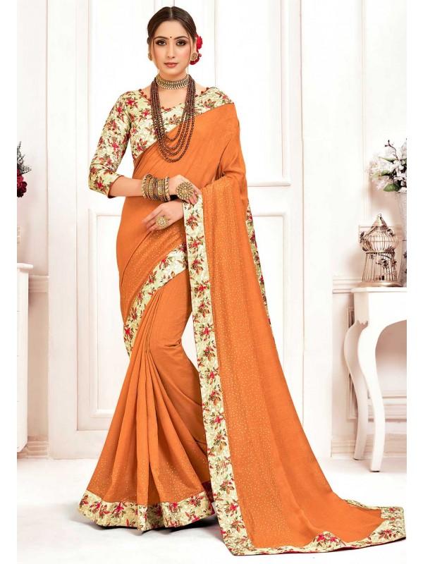 Indian Traditional Saree Mustard Colour.