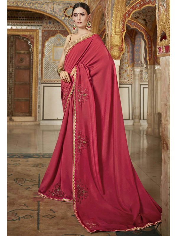 Red Colour Indian Wedding Sari.